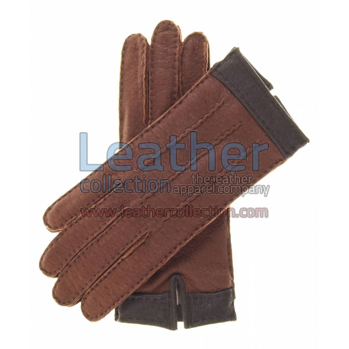 Ladies Cashmere Wool Lined Brown Lambskin Gloves