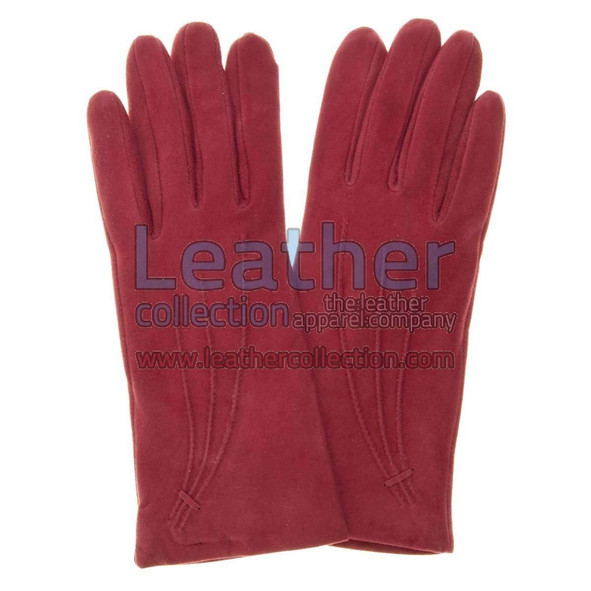 Ladies Claret Cashmere Lined Suede Gloves