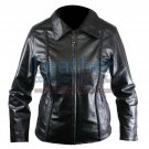 Ladies Front Braided Leather Jacket
