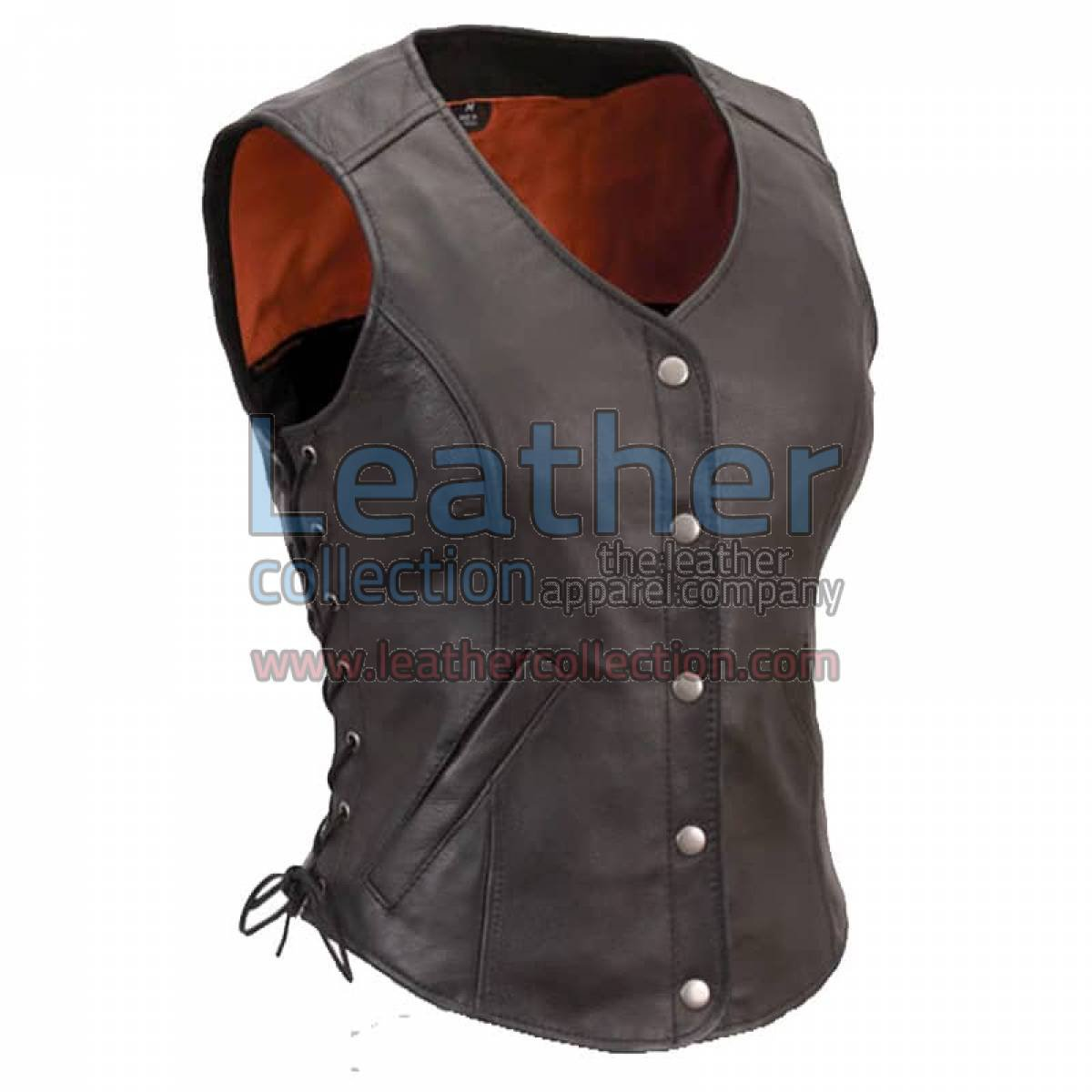 Ladies Motorcycle Leather Vest with Side Laces