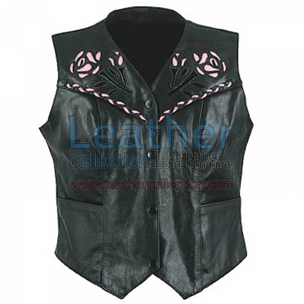 Ladies Rose Leather Vest
