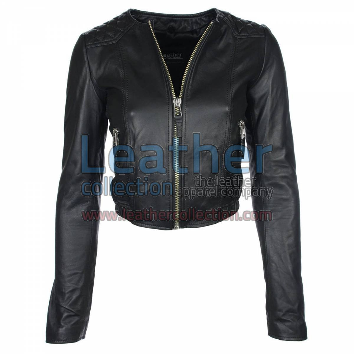 Ladies Short & Collarless Leather Jacket