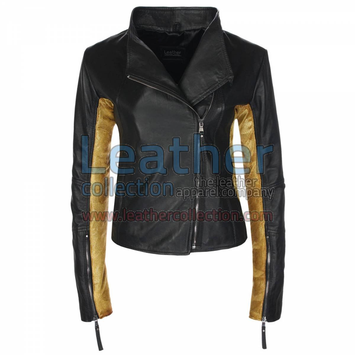 Ladies Sovereign Black & Gold Leather Jacket