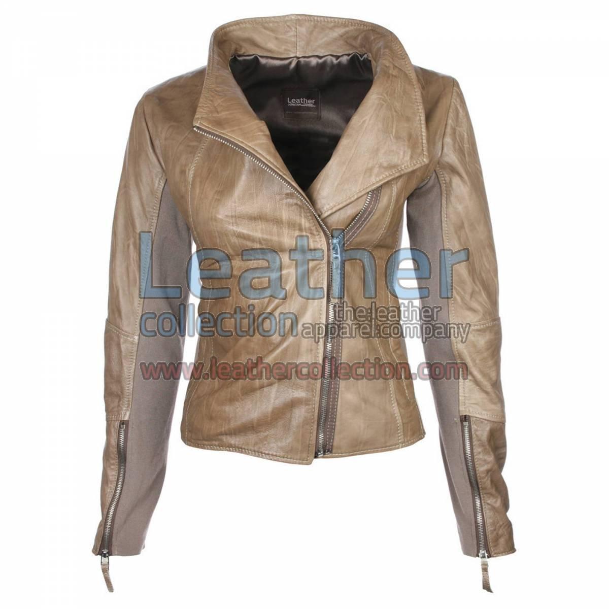 Ladies Sovereign Leather Beige Jacket
