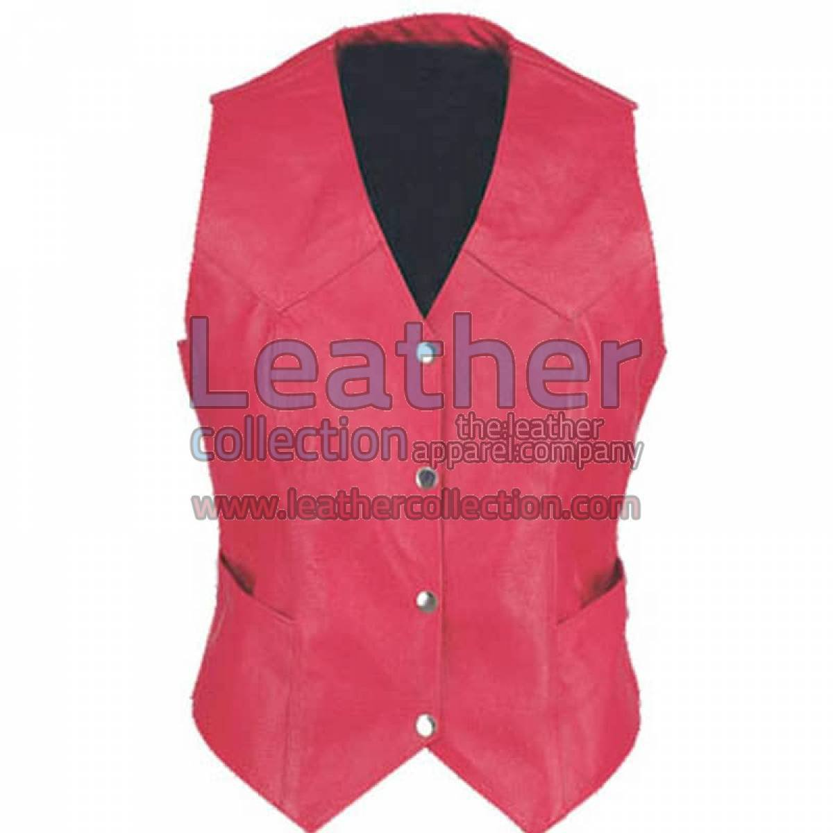 Ladies Vintage Red Fashion Leather Vest