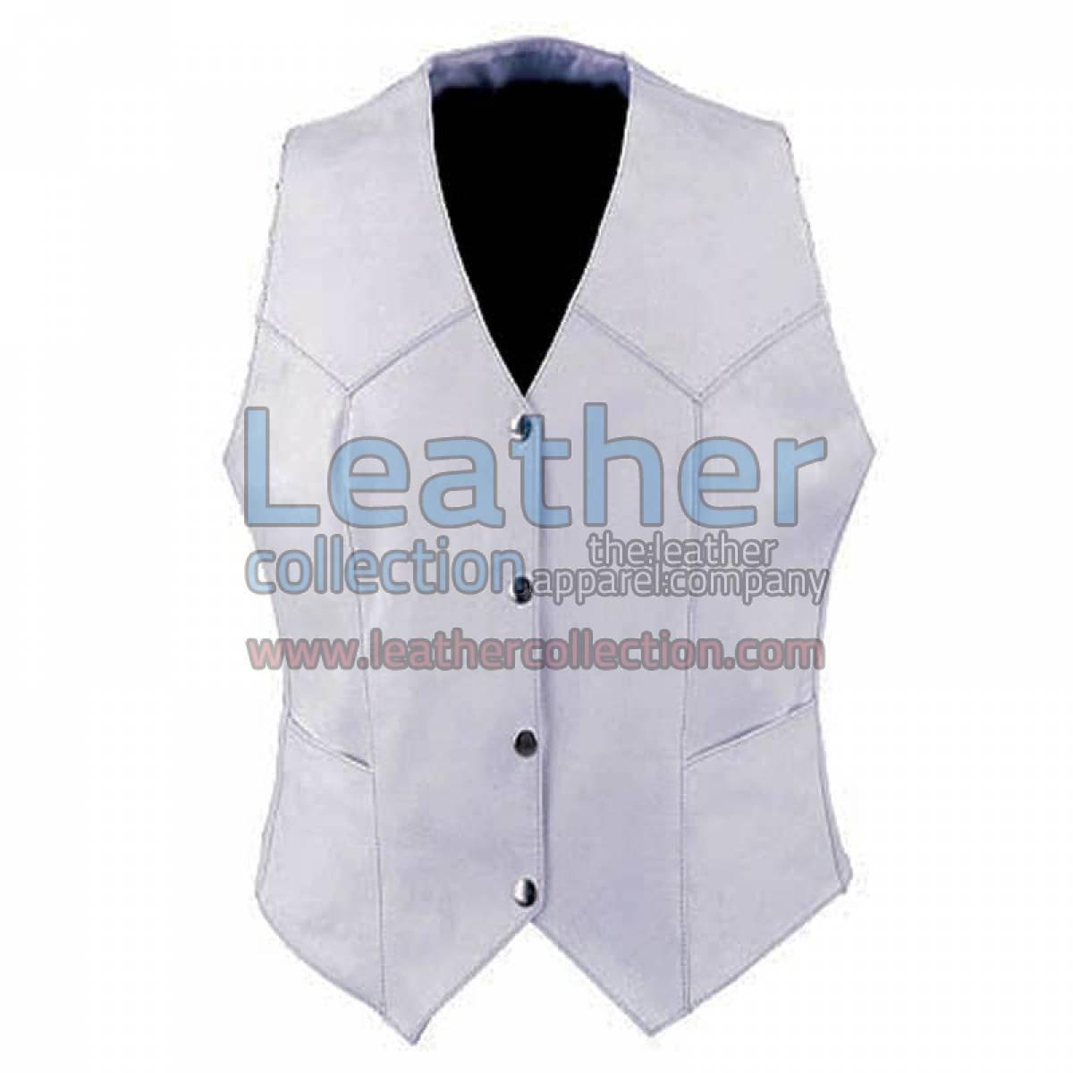 Ladies Vintage White Fashion Leather Vest