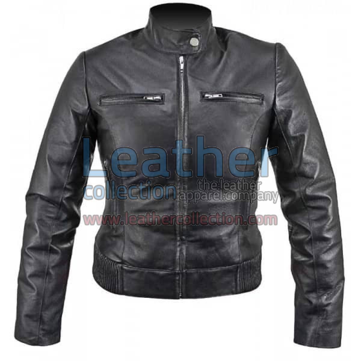 Ladies Waist Length Leather Jacket
