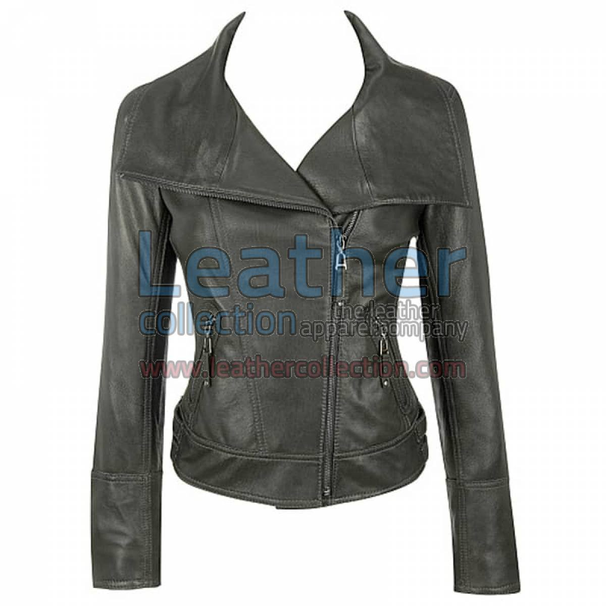 Lamb Leather Asymmetrical Black Jacket