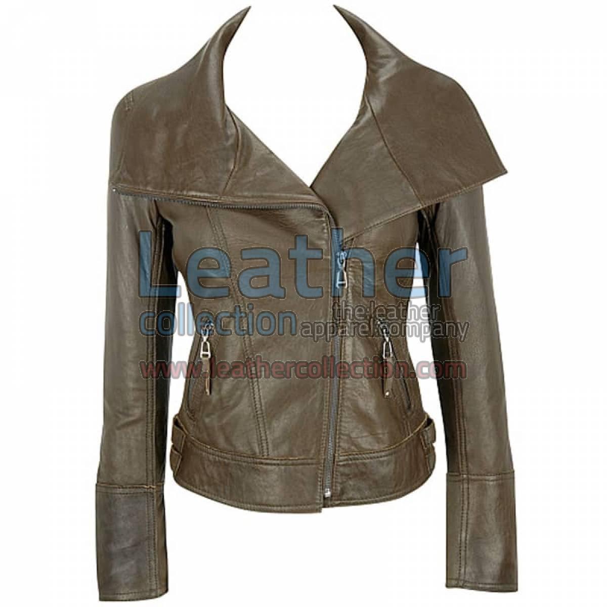 Lamb Leather Asymmetrical Jacket Brown