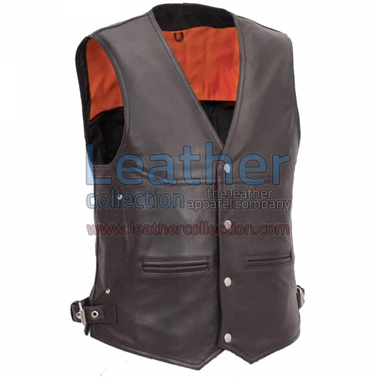 Leather Biker Vest with Deep Front Pockets