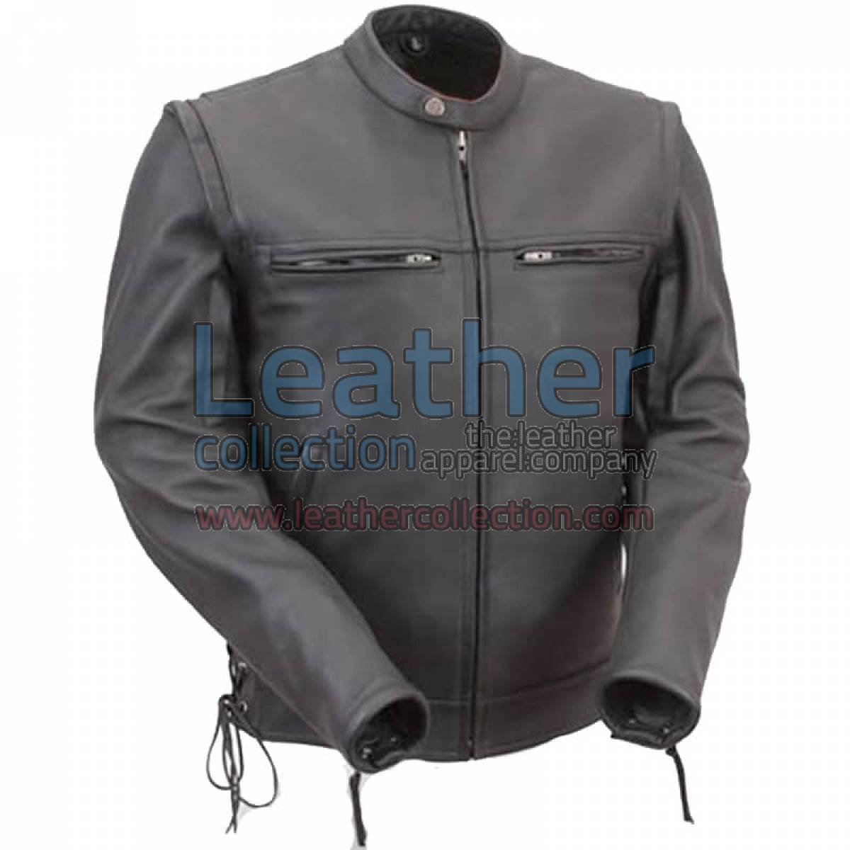 Leather Moto Jacket with Zip-Off Sleeves