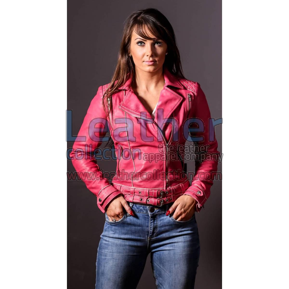 Leather Pink Women Jacket
