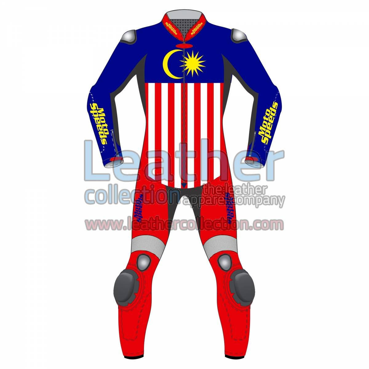 Malaysia Flag Leather Motorbike Suit