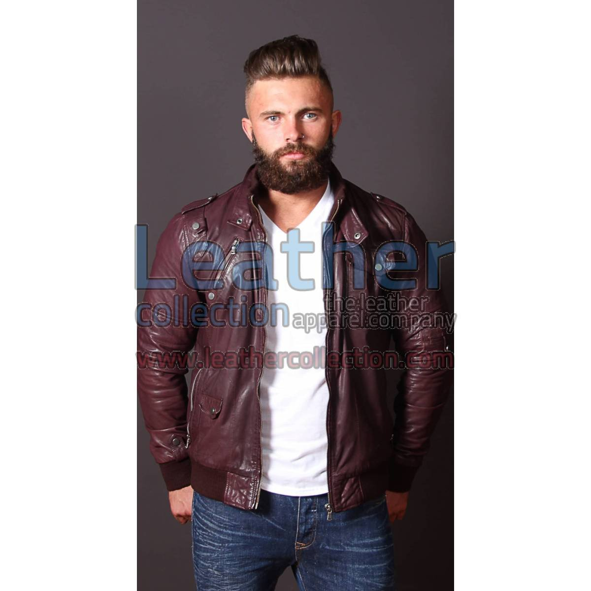 Men Boston Leather Bomber Jacket