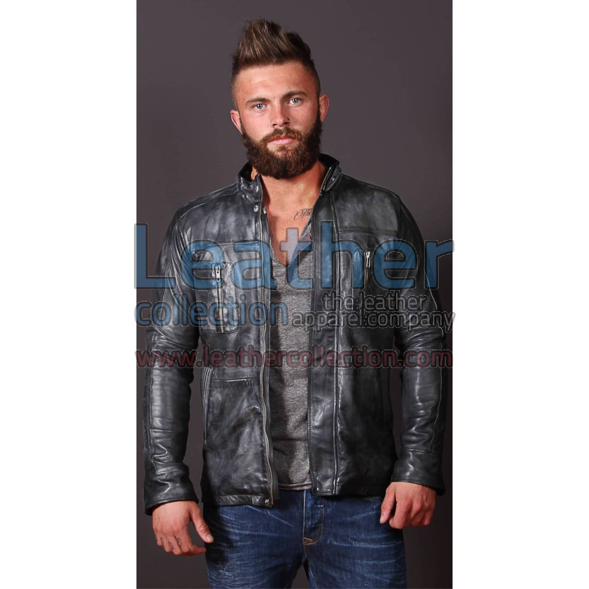 Men Casual Fashion Leather Frost Jacket