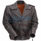 Mens Classic Motorcycle Jacket with Gun Metal Hardware