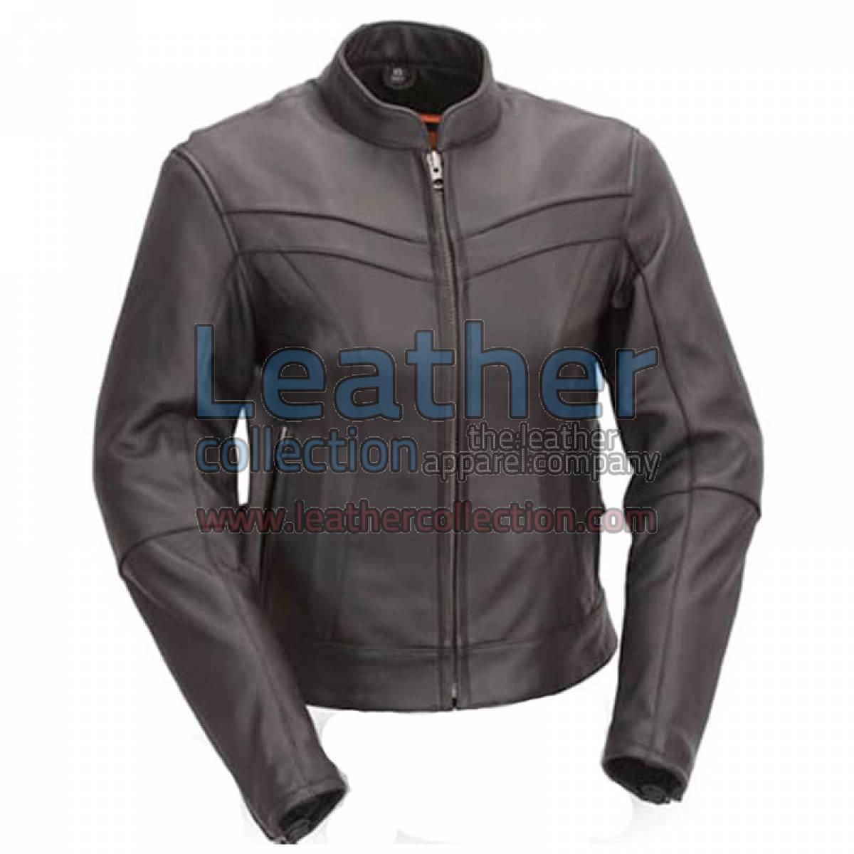 Motorcycle Touring Mandarin Collar Leather Jacket