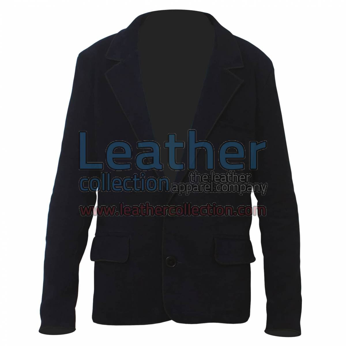 Navy Suede Fashion Leather Blazer