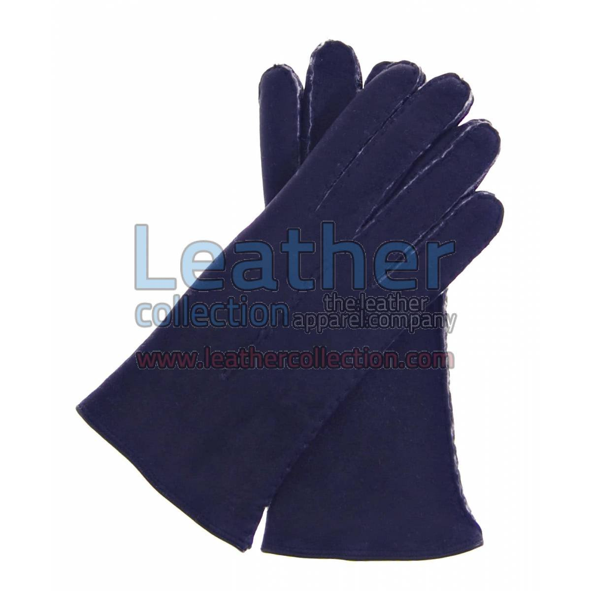 Navy Suede Lamb Shearling Gloves Ladies