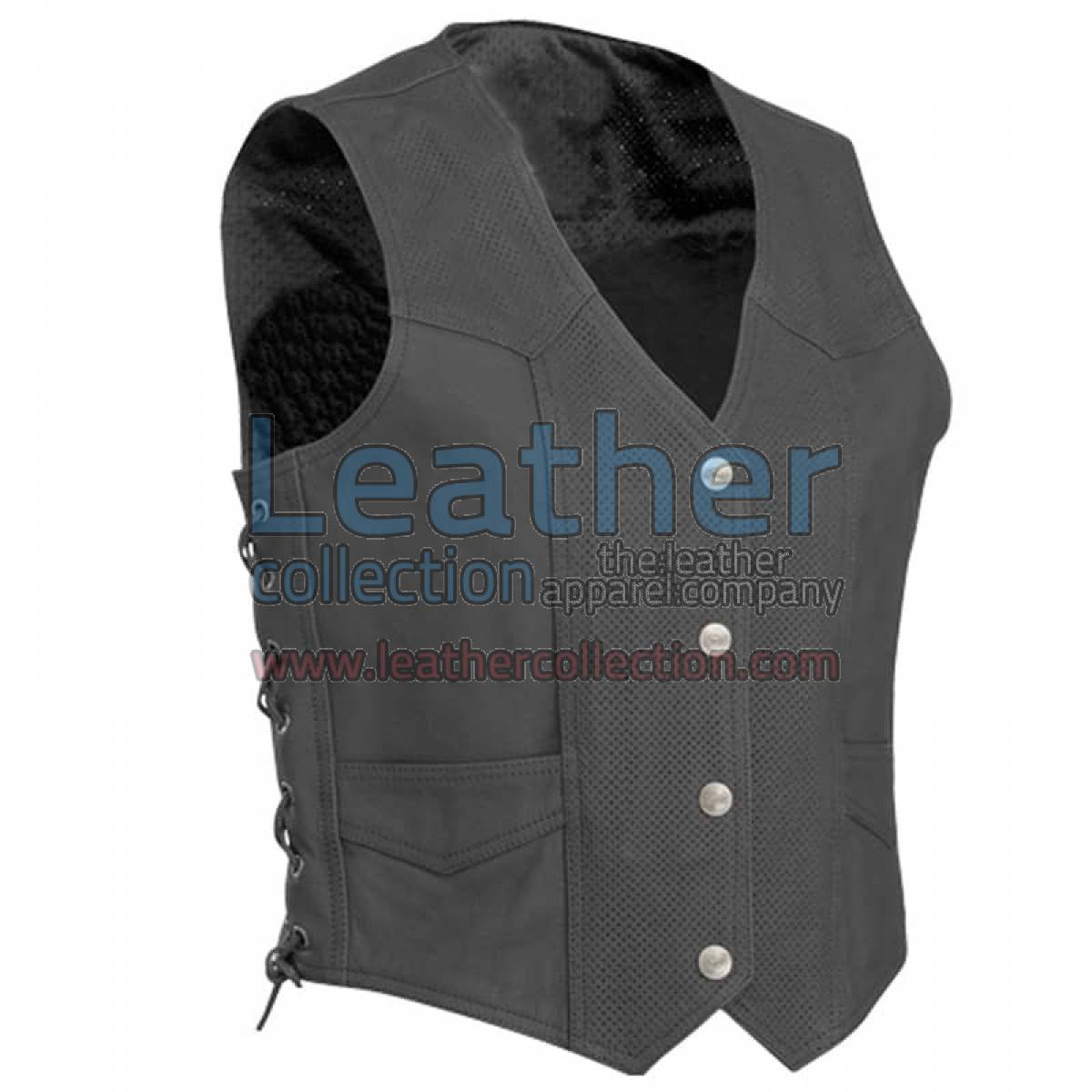 Perforated Motorcycle Leather Vest