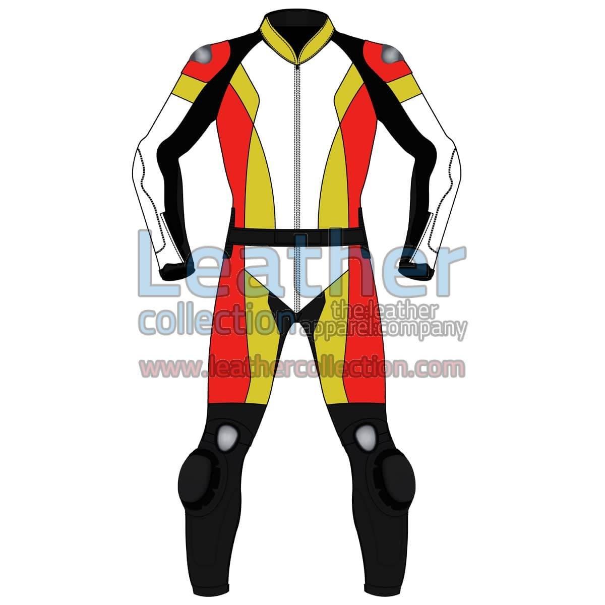 Quad Color Two-Piece Motorbike Leather Suit For Men