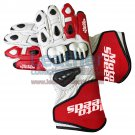 Red & White Leather Moto Gloves