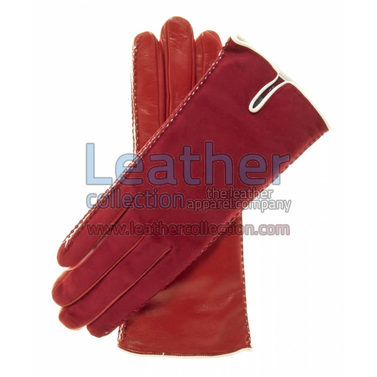 Red Suede Ladies Lambskin Gloves
