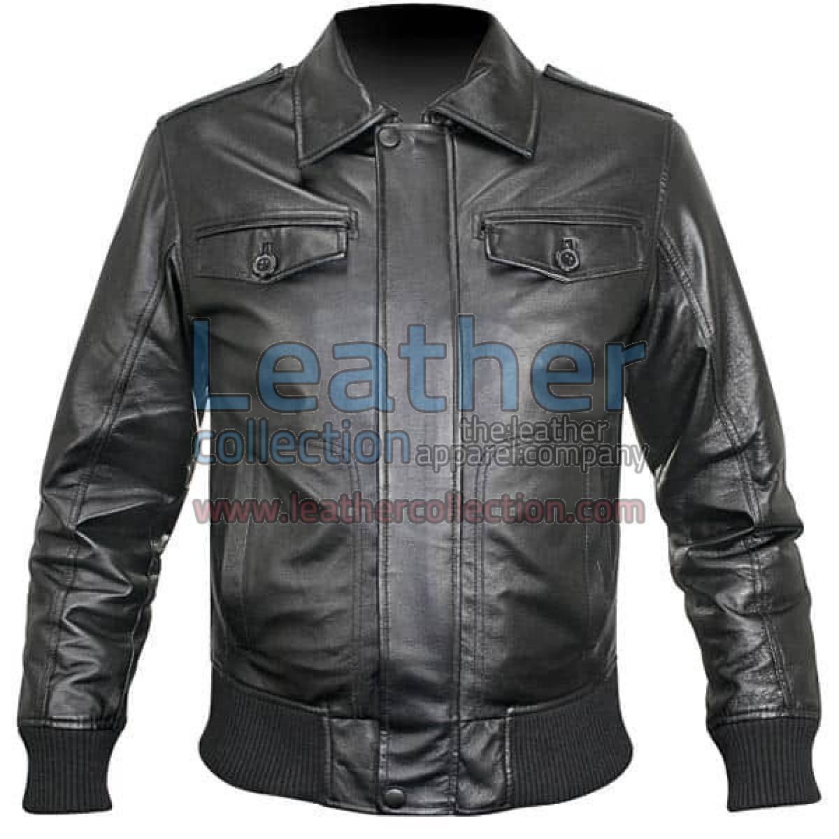 Rib Knit Retro Leather Jacket