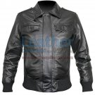 Rib Knit Retro Leather Jacket