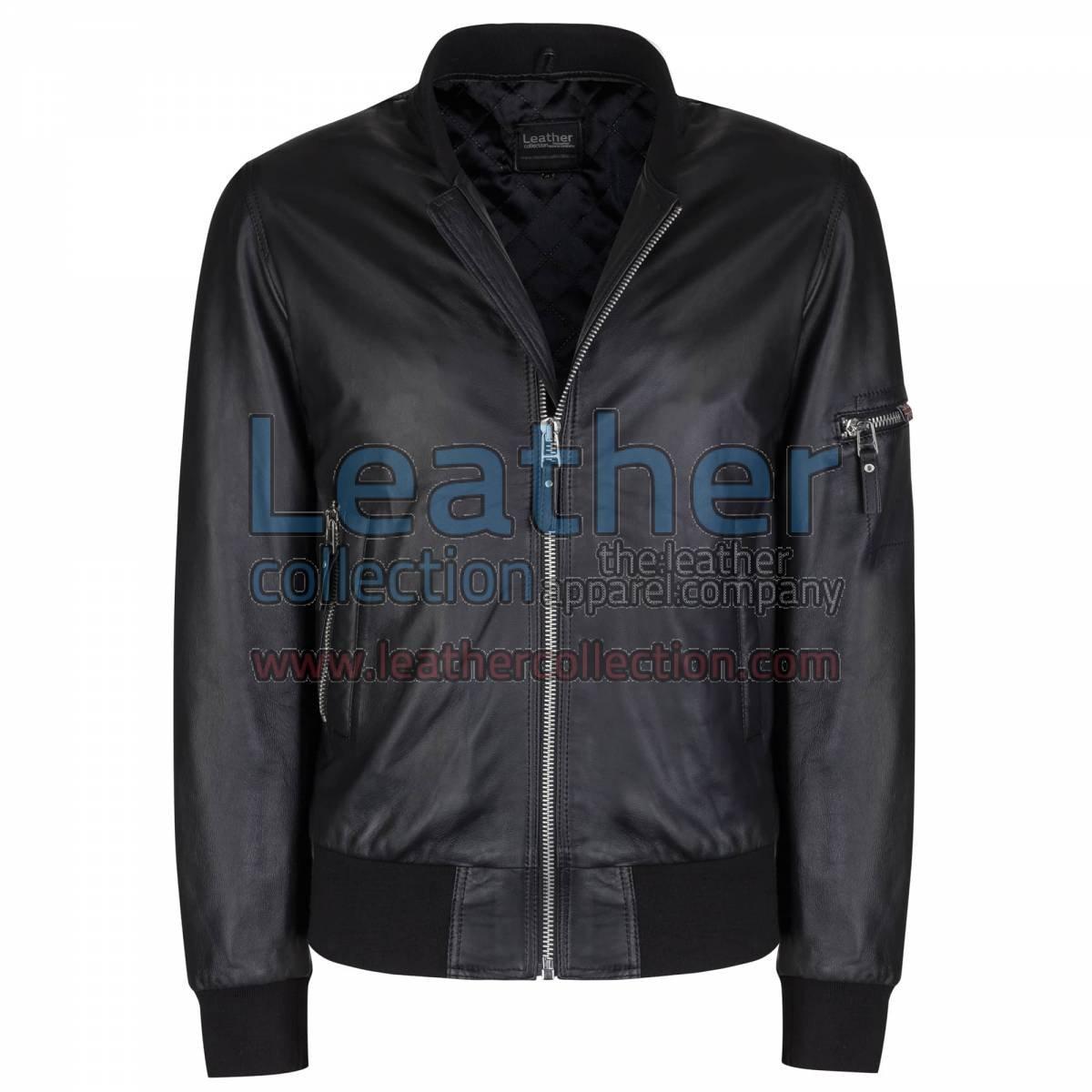 Sage Leather Bomber Jacket