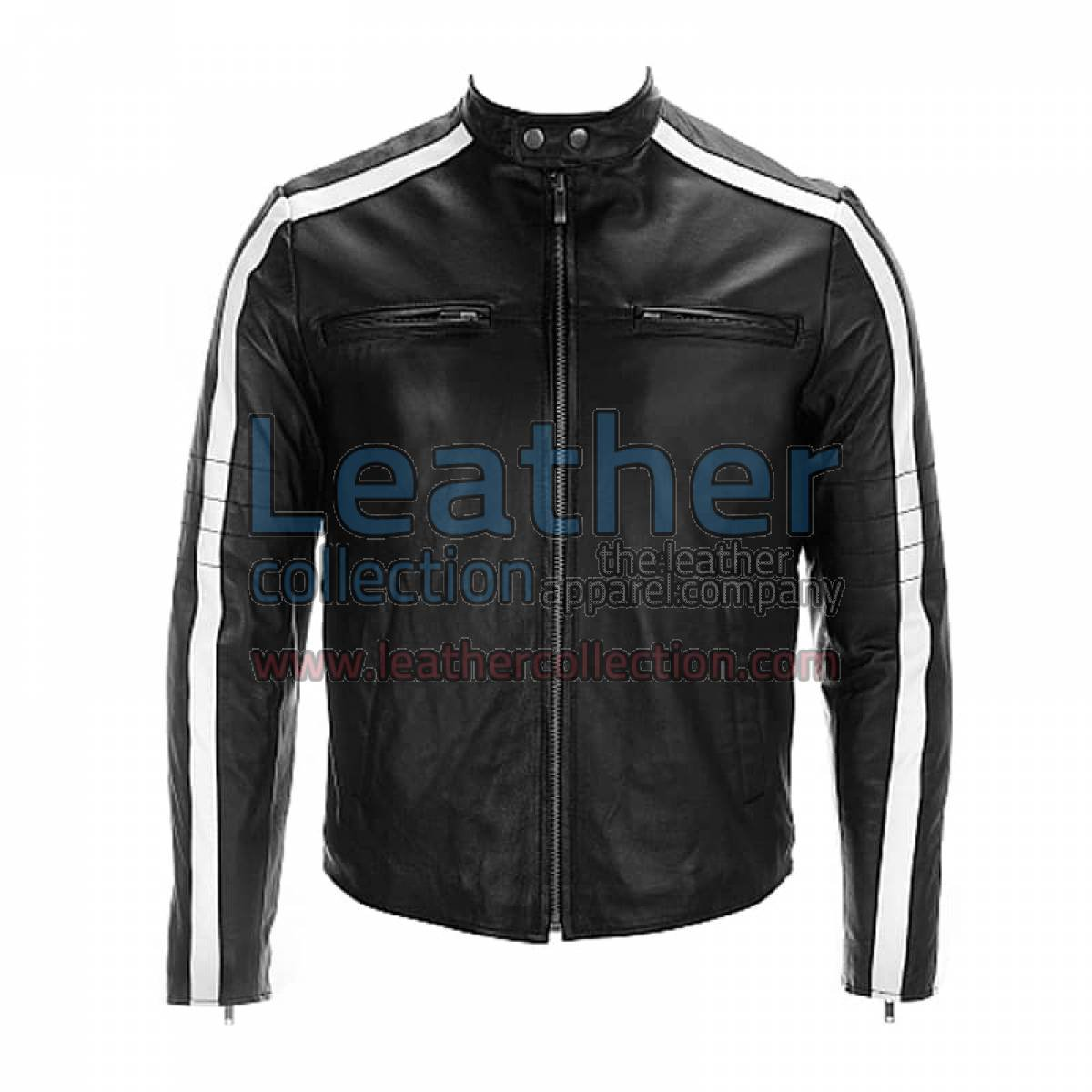 Semi Moto Leather Jacket With Stripes on Sleeves