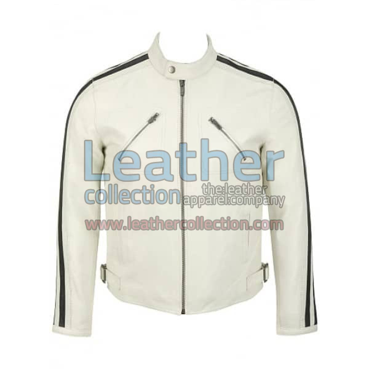 Semi Motorbike White Leather Fashion Jacket