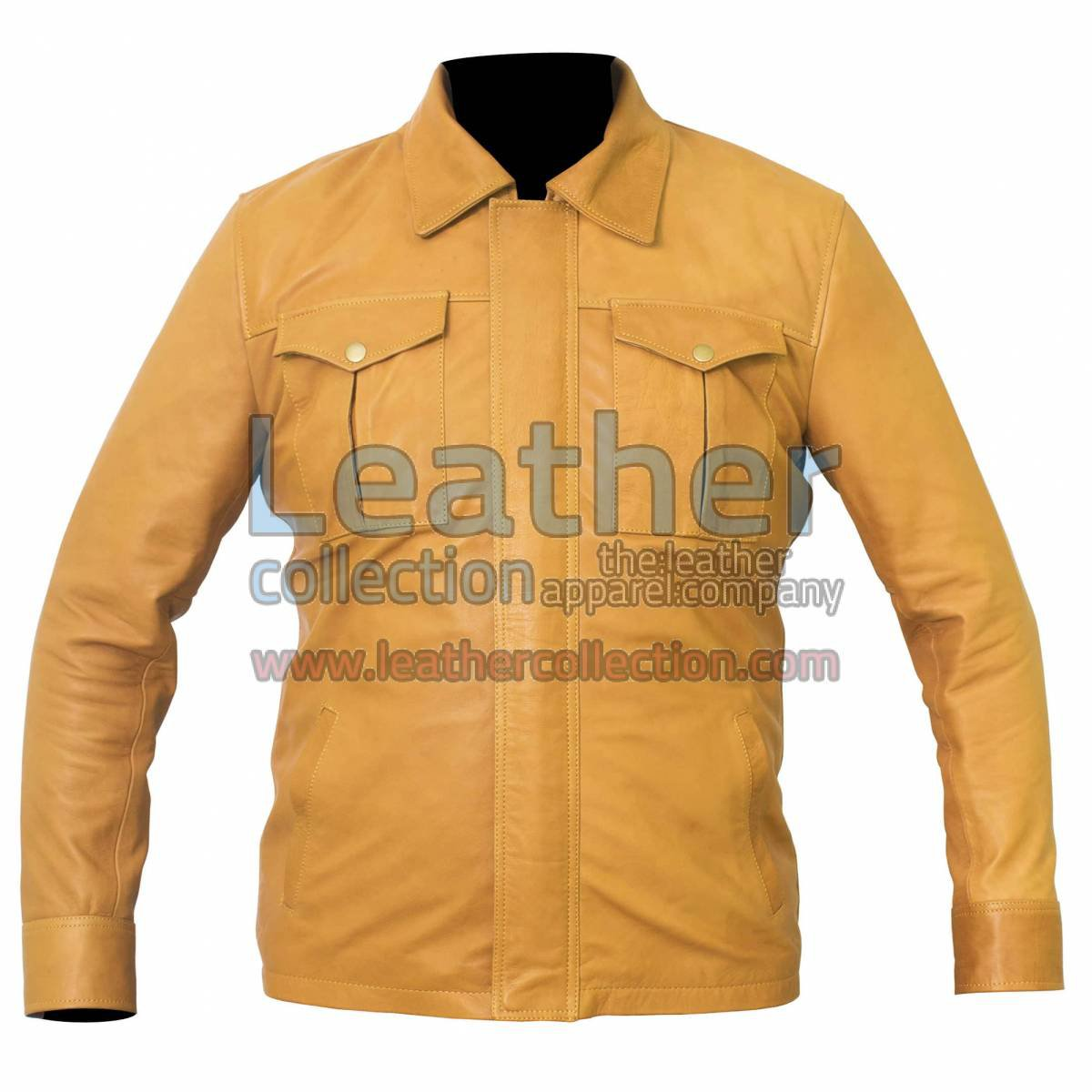 Shirt Style Camel Color Leather Jacket