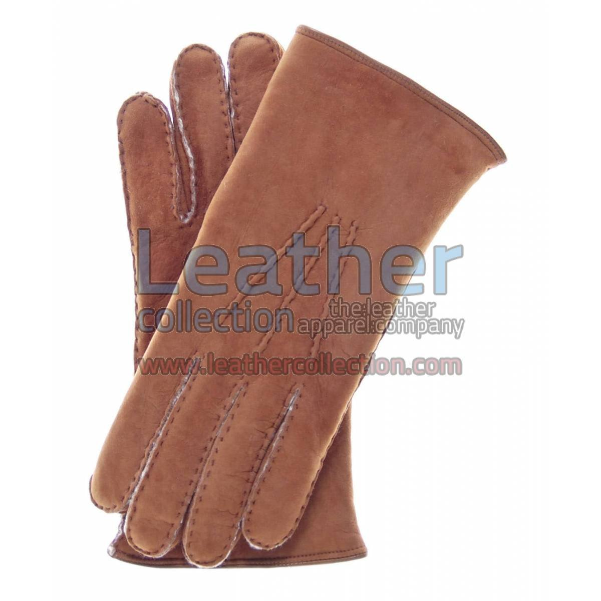 Sueded Lamb Shearling Beige Fashion Gloves