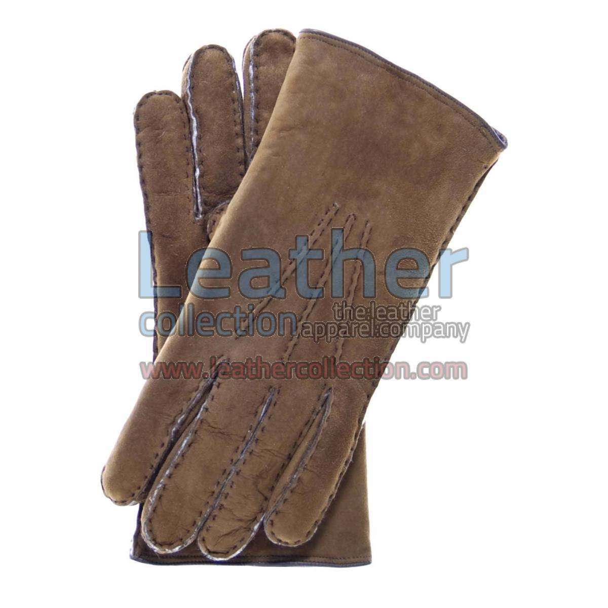 Sueded Lamb Shearling Brown Fashion Gloves