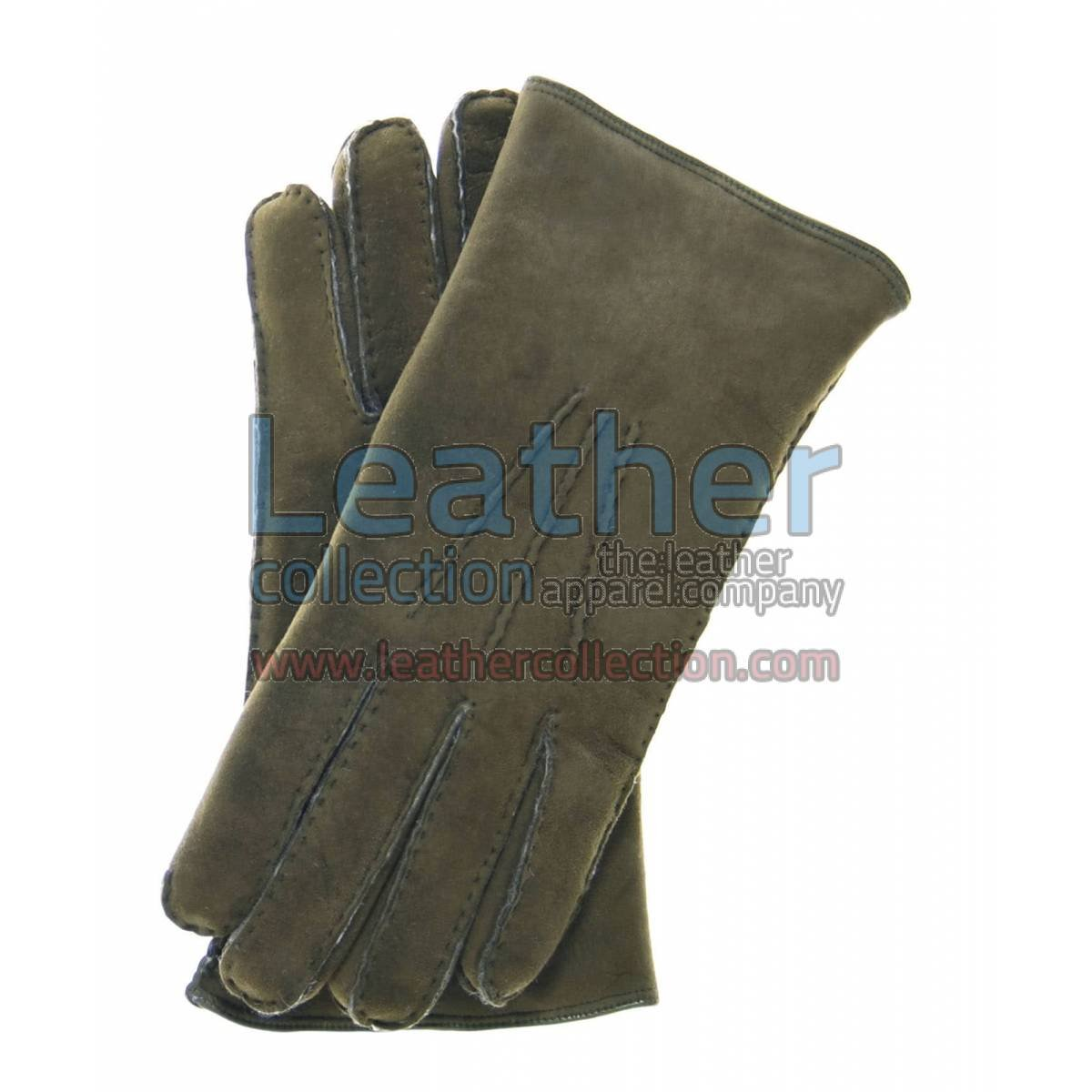 Sueded Lamb Shearling Olive Fashion Gloves