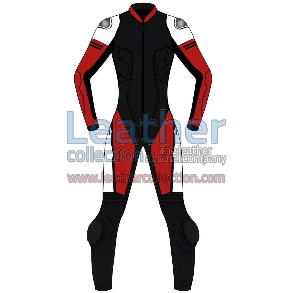 Tri Color One-Piece Motorbike Leather Suit For Women