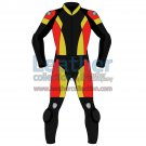 Tri Color Two-Piece Motorbike Leather Suit For Men
