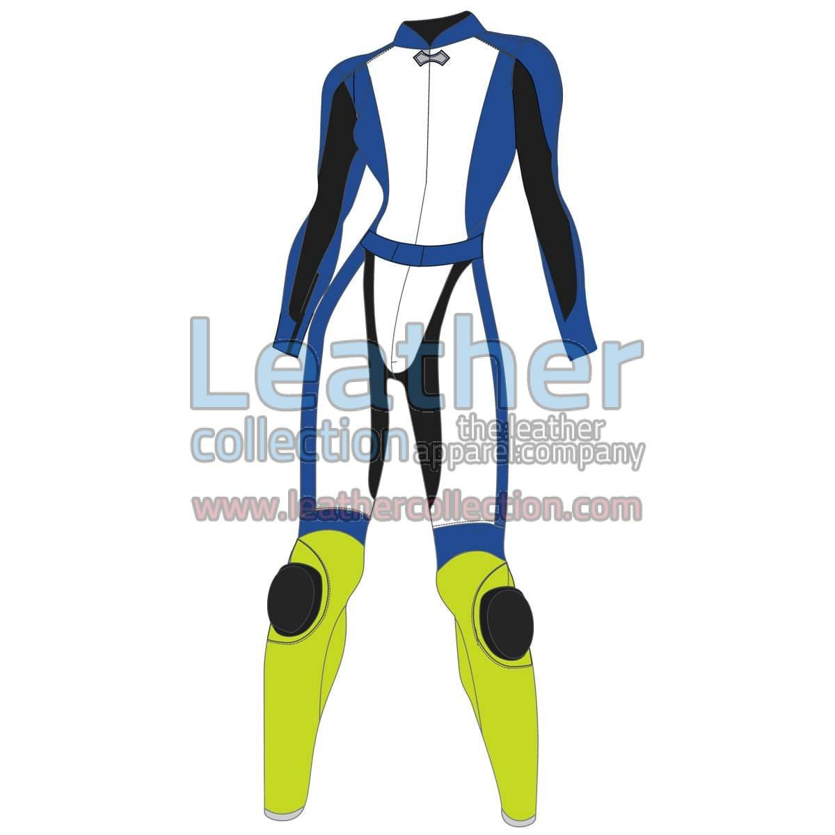 Tri Color Two-Piece Motorbike Leather Suit For Women