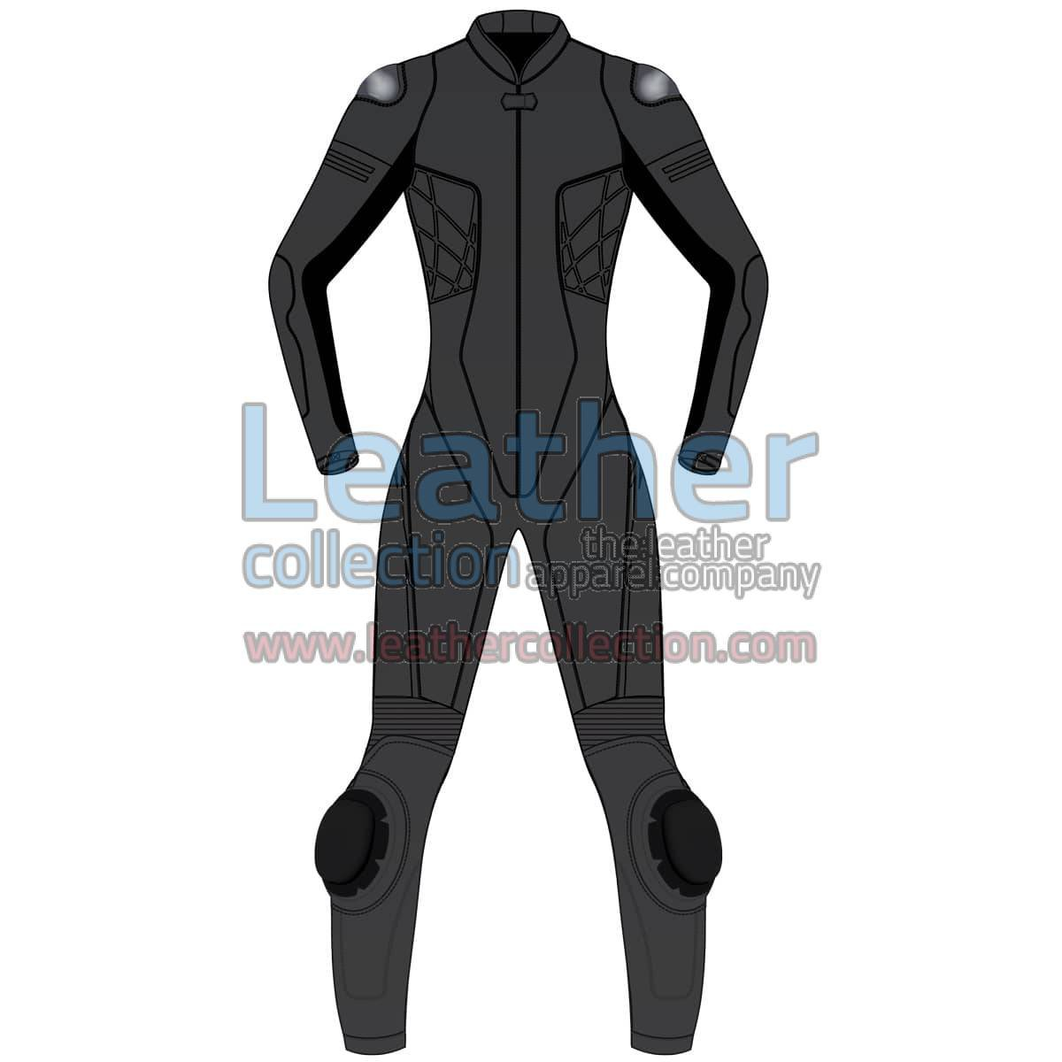 Uni Color One-Piece Motorbike Leather Suit For Women