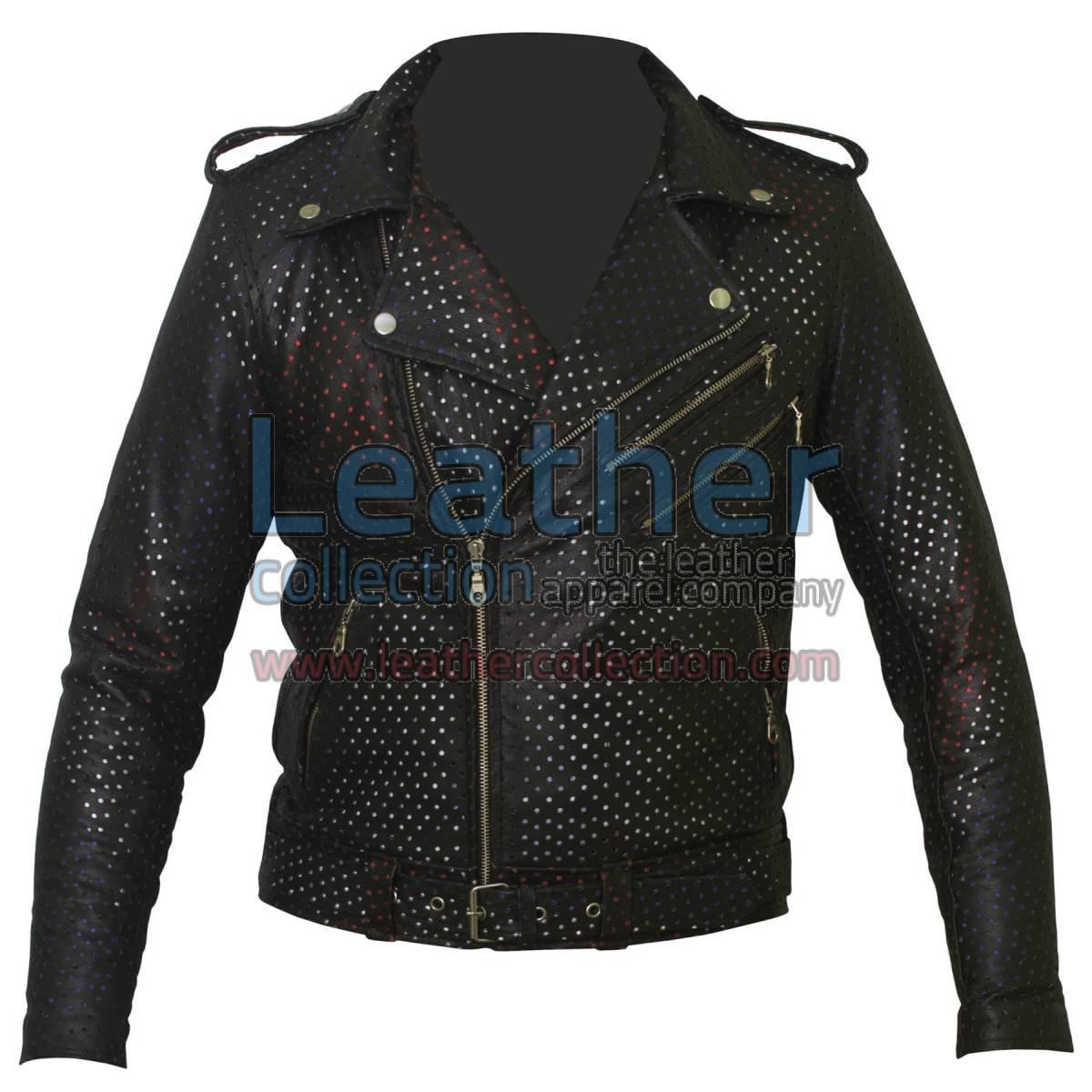 Union Jack Perforated Fashion Leather Jacket