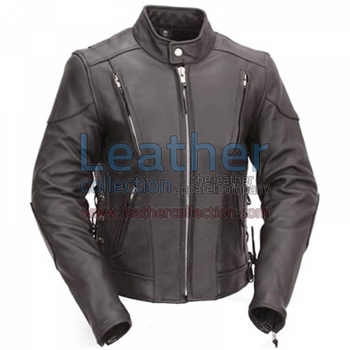 Vented Leather Scooter Style Jacket with Side Laces