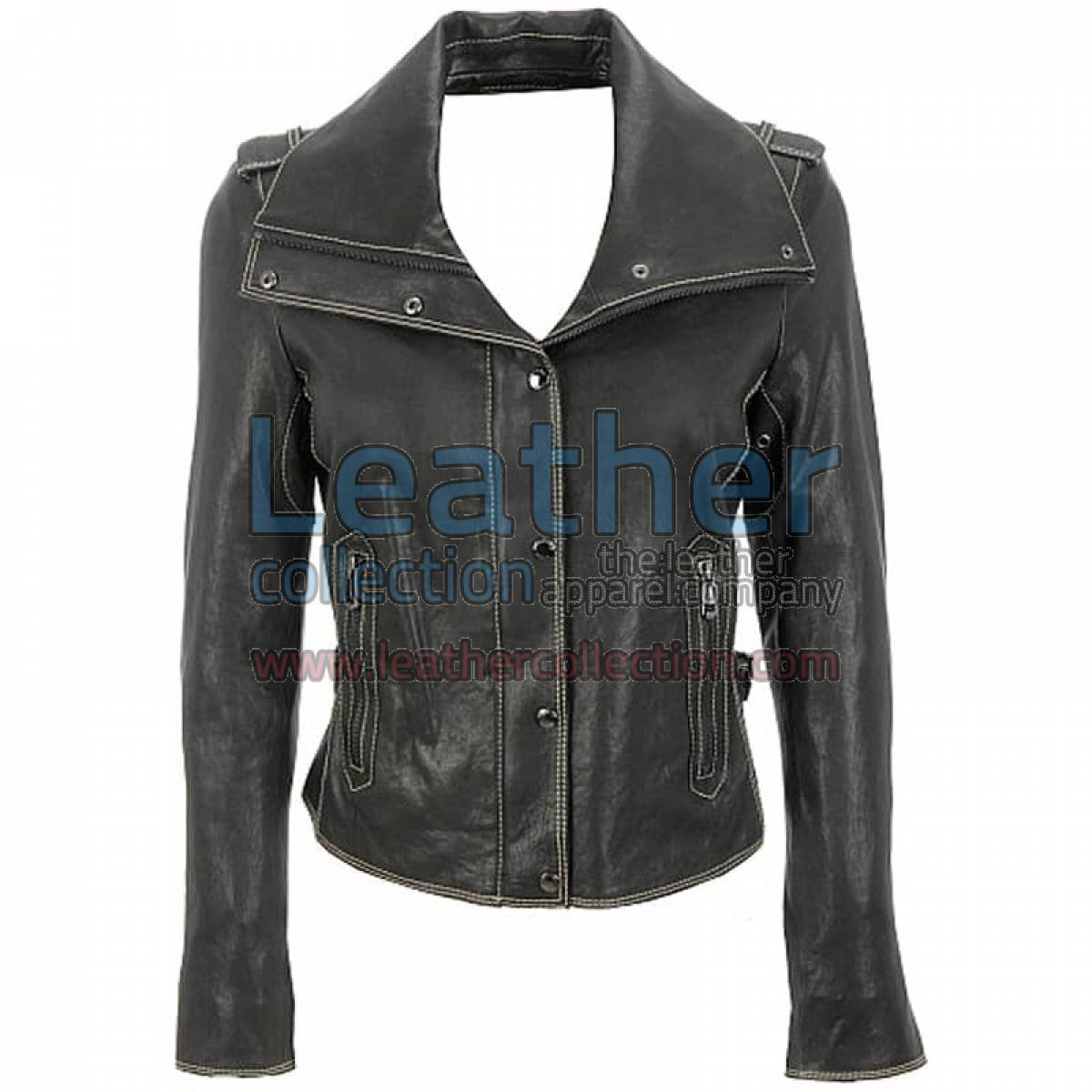 Wing Collar Jacket Of Leather