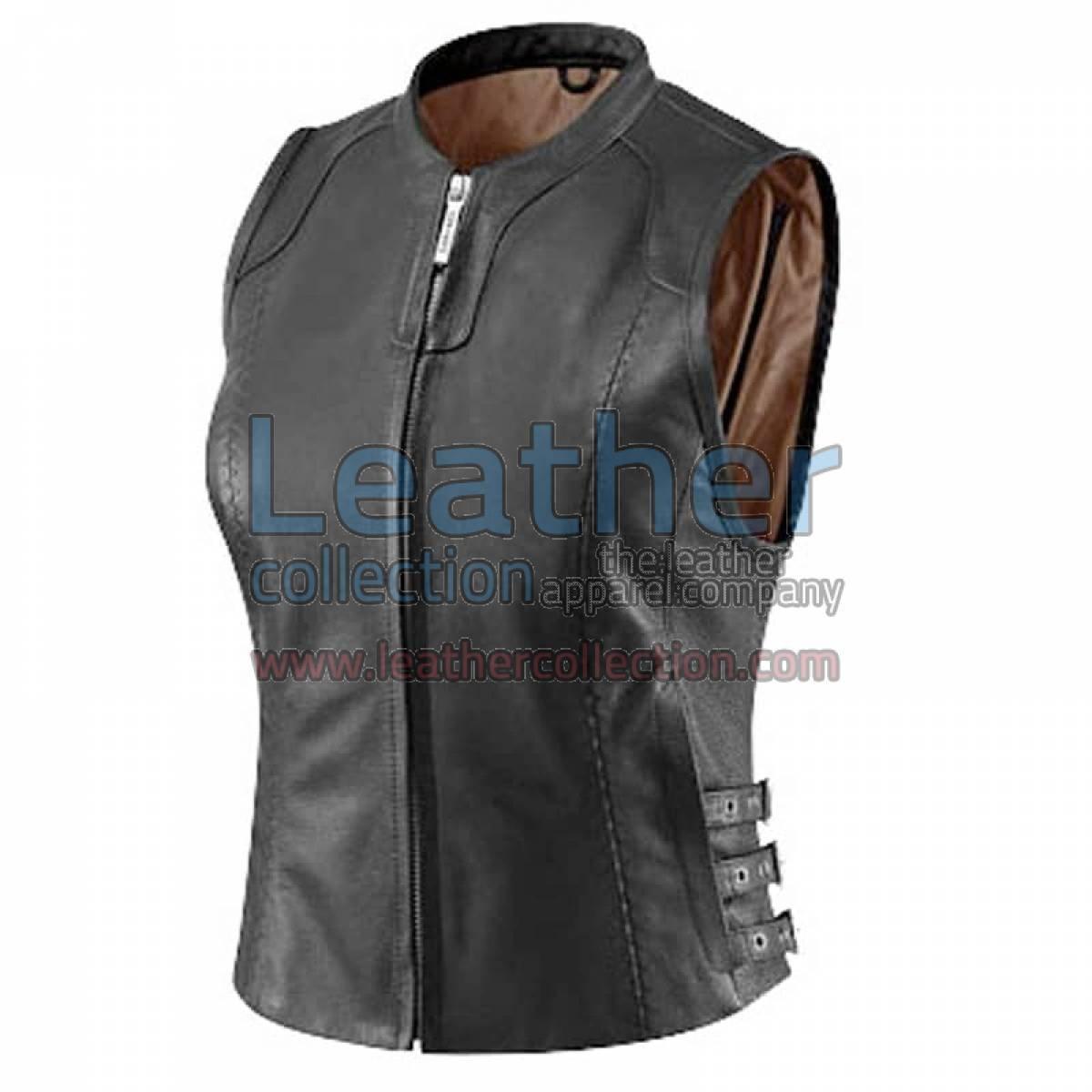 Women Black Classic Leather Vest