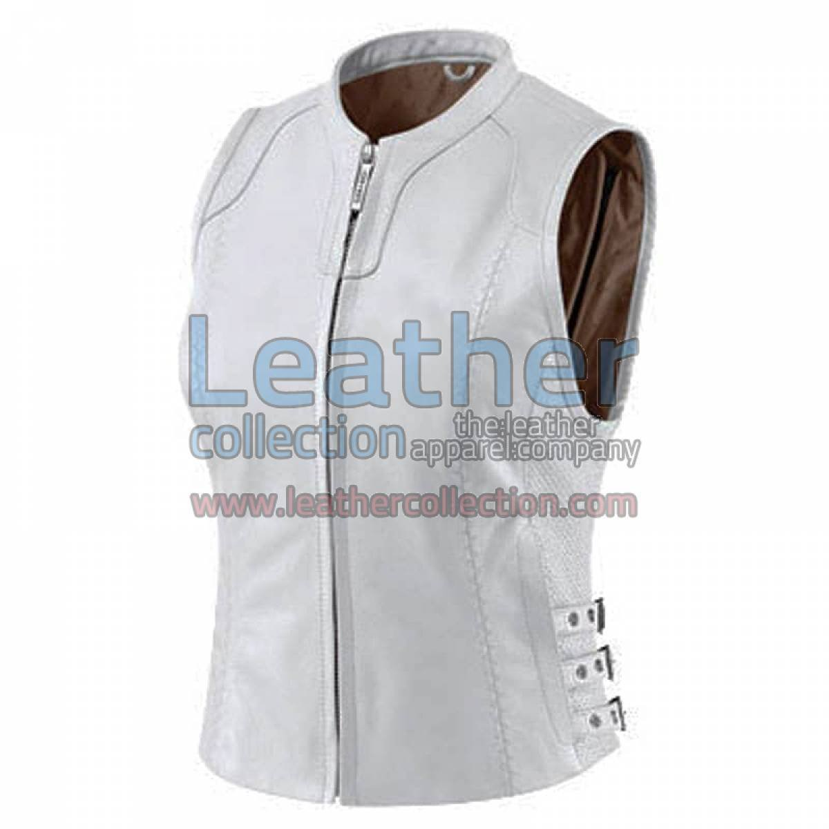 Women White Classic Leather Vest