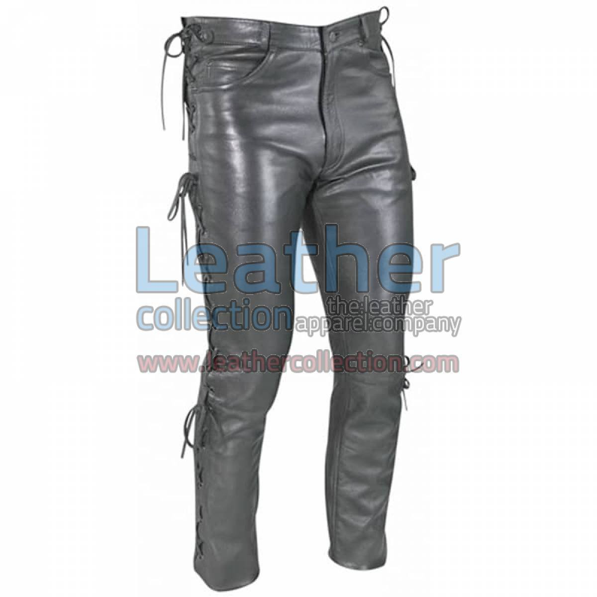 Women Leather Laces Pants