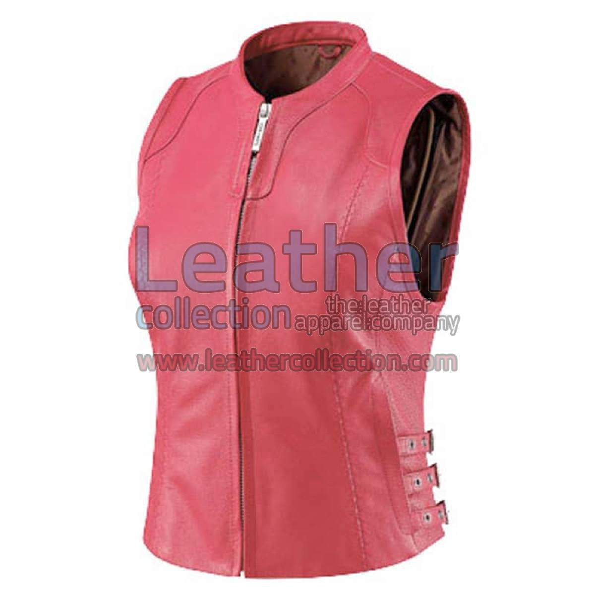 Women Pink Classic Leather Vest
