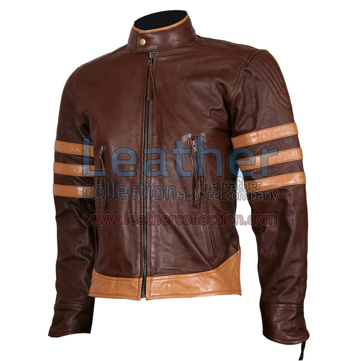 X-MEN Wolverine Origins Brown Biker Leather Jacket