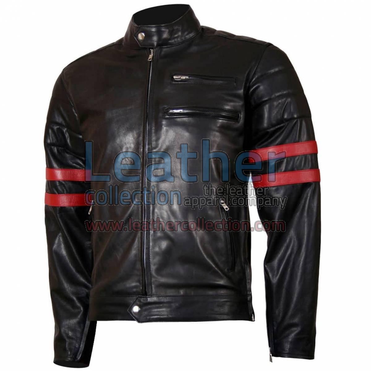X-Men Wolverine Black with Red Strips Biker Leather Jacket