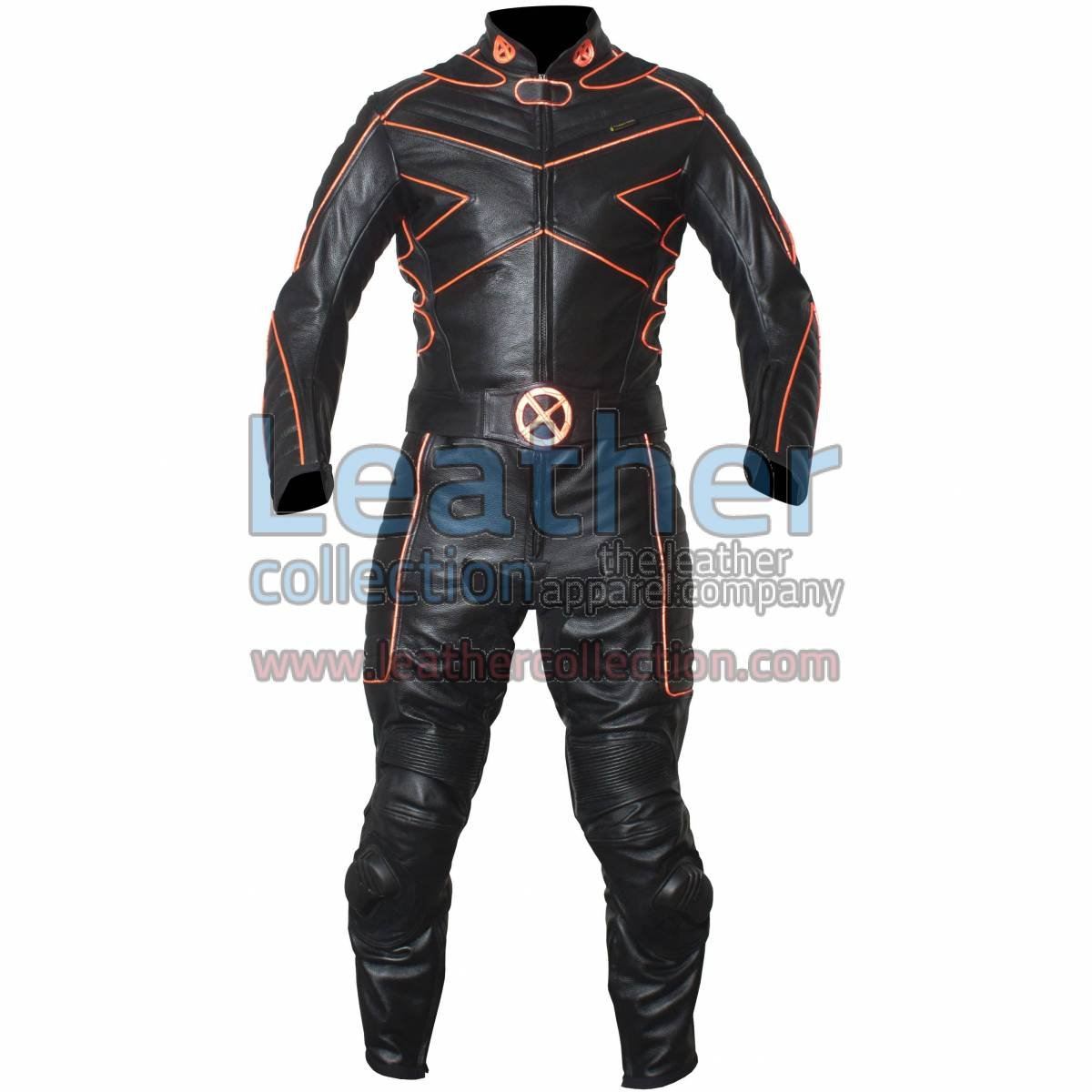 X-MEN Motorcycle Racing Leather Suit with Orange Piping